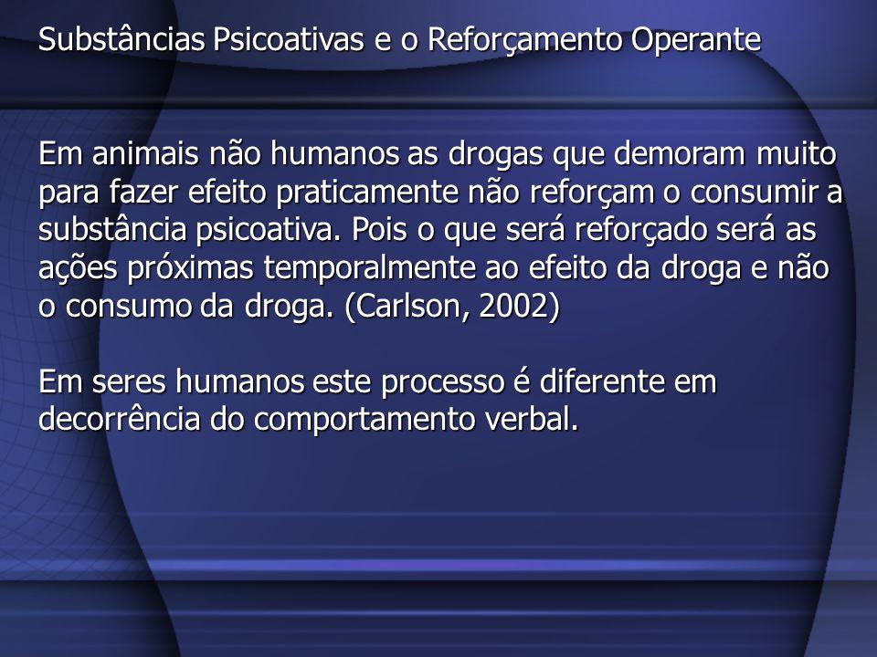 Substâncias Psicoativas e o Reforçamento Operante Mecanismos neurais As drogas que acarretam dependência – incluindo a anfetamina, a cocaína, os opiáceos, a nicotina, o álcool, o PCP e a maconha – promovem a liberação de dopamina no núcleo acumbens (Carlson, 2002, p.586) (2/6).