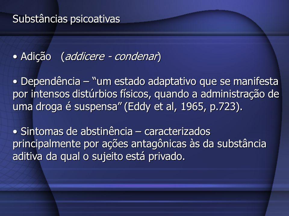 Substâncias psicoativas Tolerância – Tolerância – Diminuição da sensibilidade (aumento do limiar) à droga decorrente do uso continuado dela.
