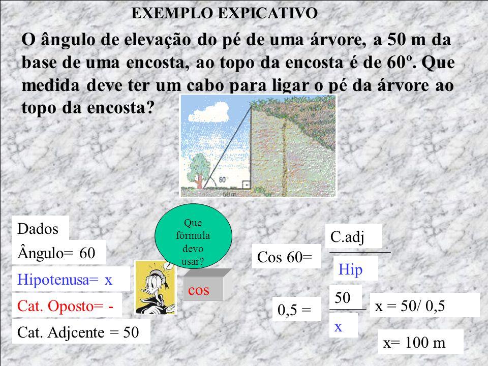 EXEMPLO EXPICATIVO Dados Ângulo= 60 Hipotenusa= x Cat.