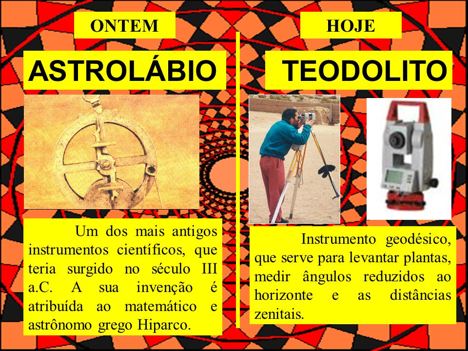 ASTROLÁBIOTEODOLITO Um dos mais antigos instrumentos científicos, que teria surgido no século III a.C.