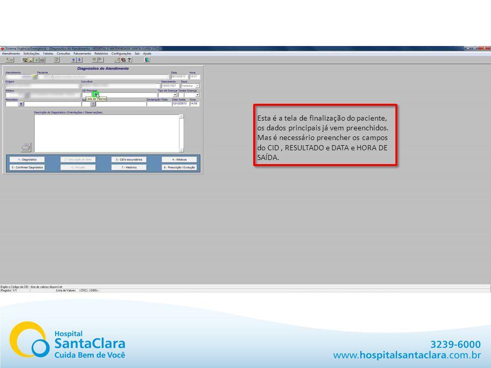 Aqui você deve informar o CID que é obrigatório.Aqui você pode informar o motivo da alta.