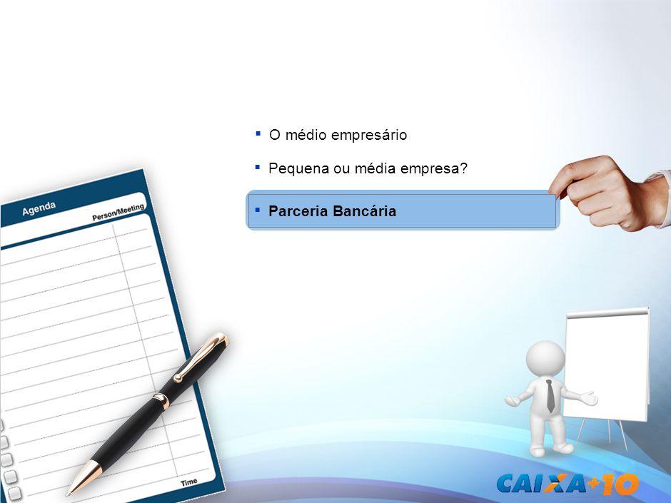 A CAIXA como parceira de longo prazo Apoio perene nos ciclos da economia Melhores condições e soluçõesEspecialização da CAIXA e sua Rede Como alavancar a transição para média empresa e sustentar seu crescimento.