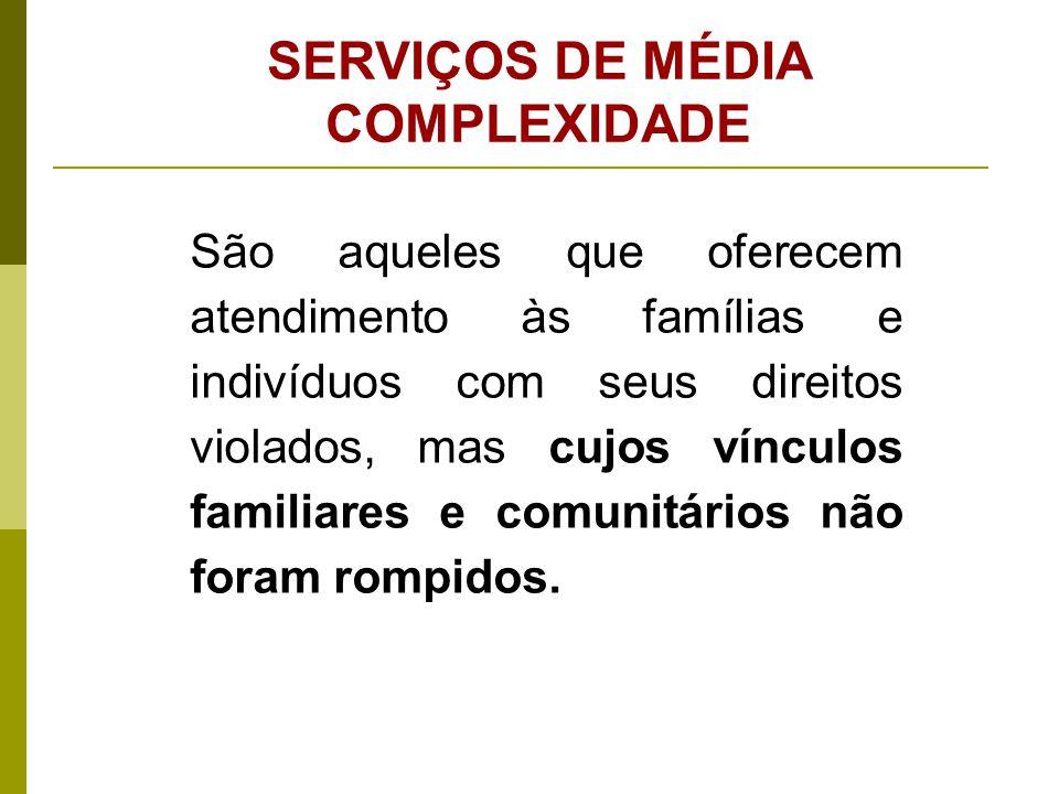 SERVIÇOS DE MEDIA COMPLEXIDADE 1.Serviço de Proteção e Atendimento Especializado a Famílias Indivíduos (PAEFI); 2.