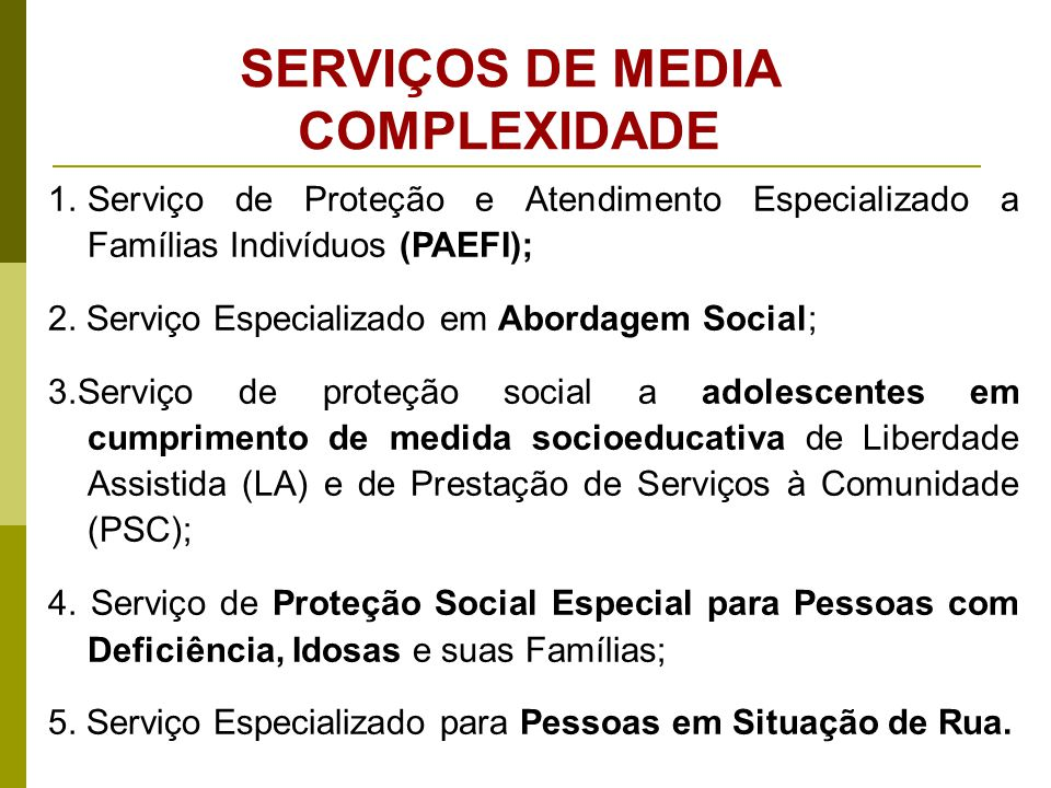 É um equipamento público que congrega um ou mais serviços de média complexidade, referenciando determinado número de usuários por territórios no âmbito local ou de abrangência regional.
