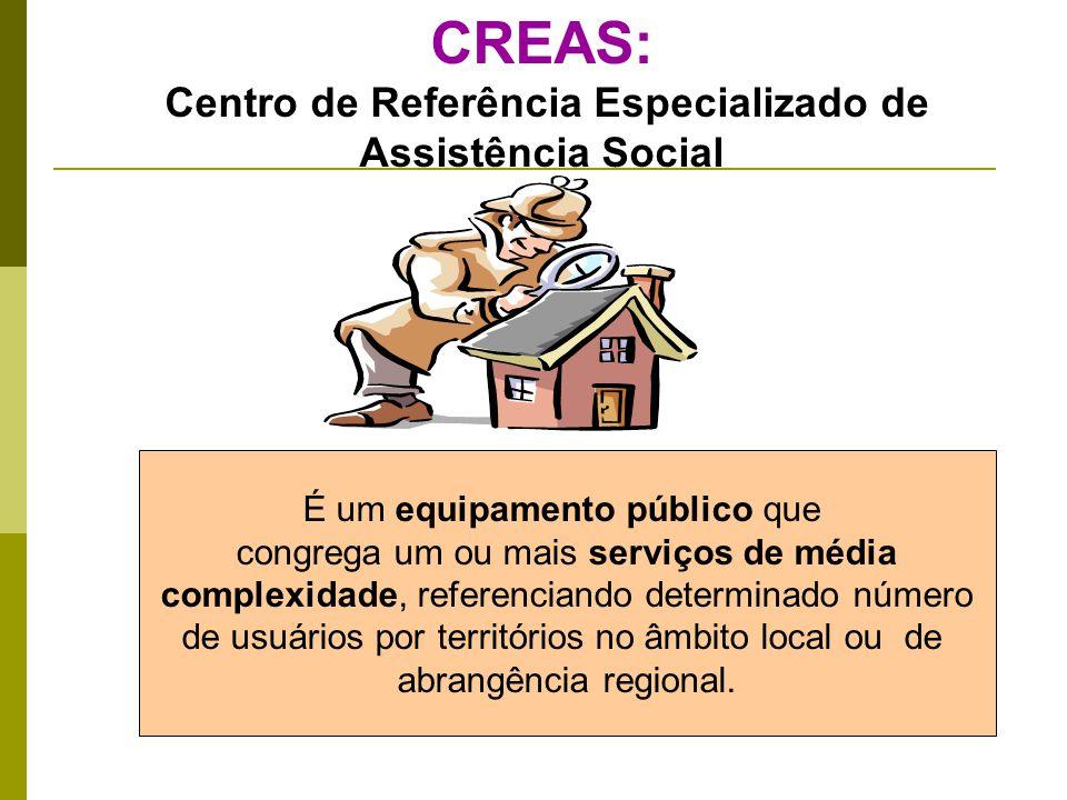 CREAS: EQUIPE DE REFERÊNCIA CREAS com capacidade de atendimento de 50 pessoas/indivíduos.