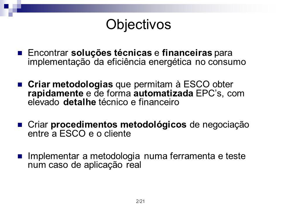 3/21 Empresas de Serviços Energéticos (ESCO) Tem como objectivo prestar serviços energéticos, a consumidores finais, de: Eficiência energética Utilização de recursos endógenos A sua remuneração está directamente ligada ao desempenho das soluções energéticas que propõe Contratos de eficiência energética (EPC) Encontra soluções técnicas e de financiamento dos projectos Faz o acompanhamento do funcionamento das soluções medindo o seu desempenho