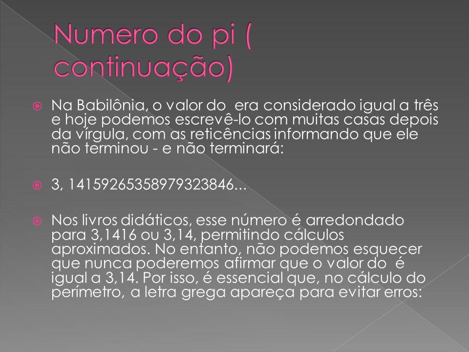 O número pi (representado habitualmente pela letra grega p ) é o irracional mais famoso da história, com o qual se representa a razão constante entre o perímetro de qualquer circunferência e o seu diâmetro.