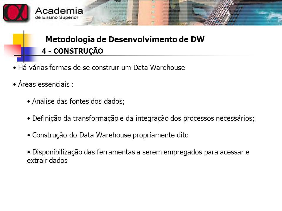 Metodologia de Desenvolvimento de DW Etapas consideradas para construção do Data Warehouse (DW) 1.Escolher os processos que se pretende modela, construindo tabela de fatos para cada processo escolhido Identificar temas que se pretende modelar (mínimo 1 tabela fatos) 2.Definir a granulidade de cada tabela de fatos para cada processo Especificar o nível de detalhamento para cada tabela de fatos 3.Definir as dimensões de cada tabela de fatos Intuitivamente identificar cruzamentos de dados que interessam 4.Identificar os Fatos Identificar os valores aditivos (podem ser manipulados) 5.Analisar os atributos das dimensões Estabelecer descrições completas e terminologias apropriadas 4 - CONSTRUÇÃO