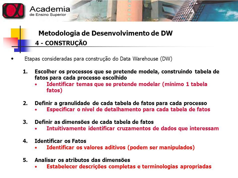 Metodologia de Desenvolvimento de DW 4 - CONSTRUÇÃO Etapas consideradas para construção do Data Warehouse (DW) 6.Rever Dimensões populosas Dimensões com muitas linhas precisam de tratamentos especiais Definir agregações (desempenho) 7.Prepara Dimensões para suportar evoluções 8.Definir a Duração do Banco Período de tempo em que o Banco de Dados vai ser utilizado pelo DW 9.Definir a Frequencia : Extrair e Carregar Dados Estabelecer um período de tempo para que os dados sejam retirados e colocados ou atualizados no DW