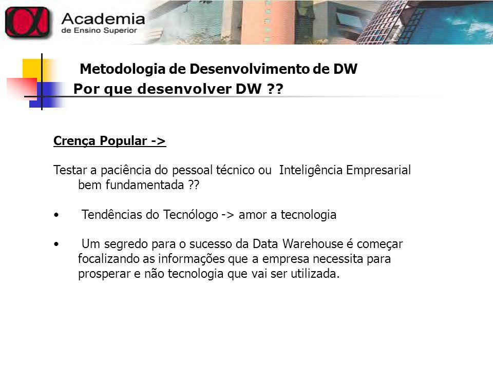 Metodologia de Desenvolvimento de DW Data WareHousing A estratégia que reconhece a necessidade de armazenar estas informações separadamente, em sistemas de informação e consolidá-los, de forma a assistir diversos profissionais de uma empresa na tomada de decisões de modo rápido e eficaz.