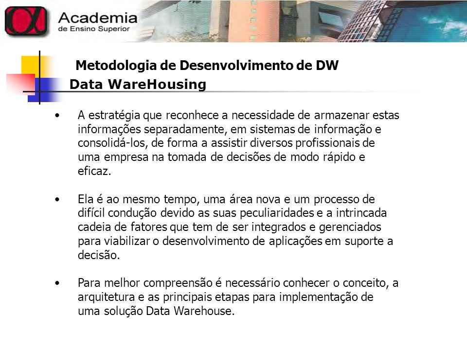Metodologia de Desenvolvimento de DW Uma plataforma que contém todos os dados da organização, centralizados e organizados, de forma que os usuários possam extrair relatórios analíticos complexos, contendo informações gerenciais para apoio à decisão.