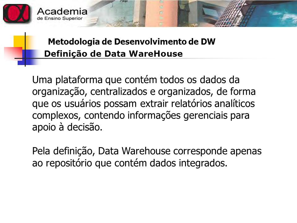 Metodologia de Desenvolvimento de DW Estrutura mínima de um Data WareHouse
