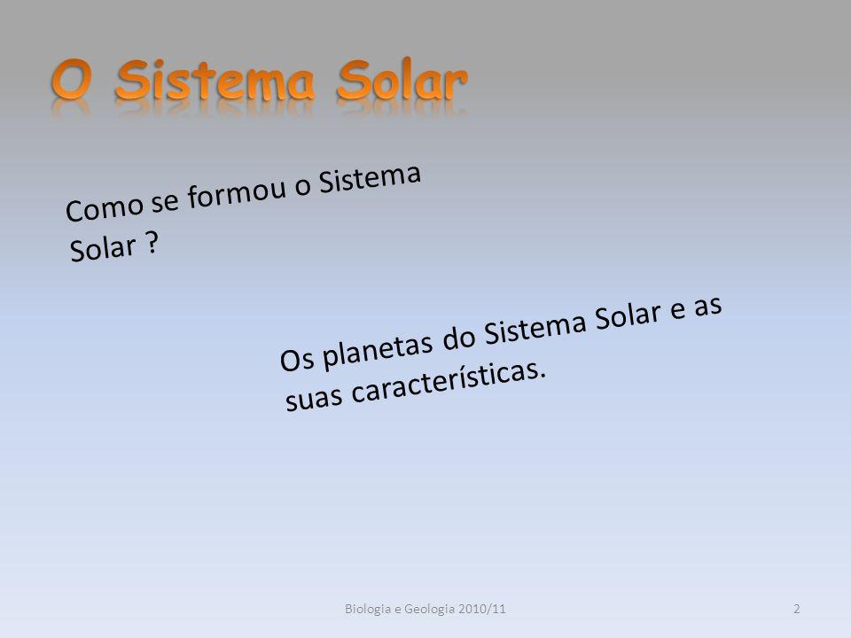 Biologia e Geologia 2010/113 Actualmente existem várias teorias para explicar a formação do Sistema Solar: A primeira hipótese a ser formulada foi a Hipótese da Colisão.