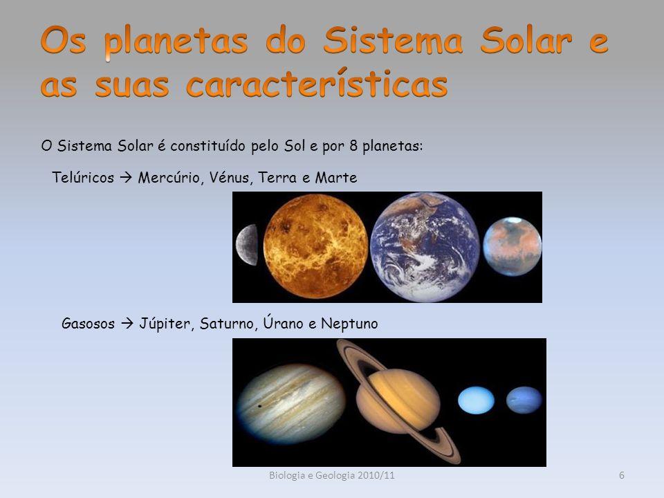Biologia e Geologia 2010/117 Os planetas telúricos encontram-se entre o Sol e a cintura de asteróides.
