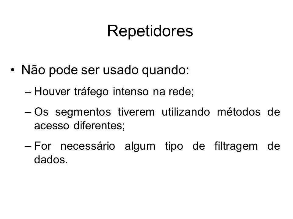 Hubs Regeneram e retransmitem os sinais exatamente como um repetidos; Algumas vezes são chamados repetidores multiportas; Possuem entre oito e dezesseis portas; Bastante utilizados como elemento centralizador nas redes de topologia estrela; Operam em nível físico do modelo OSI (camada 1).