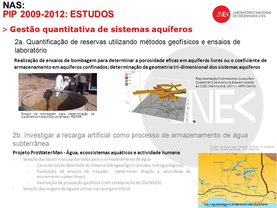 NAS: PIP 2009-2012: ESTUDOS >Gestão quantitativa de sistemas aquíferos 3.