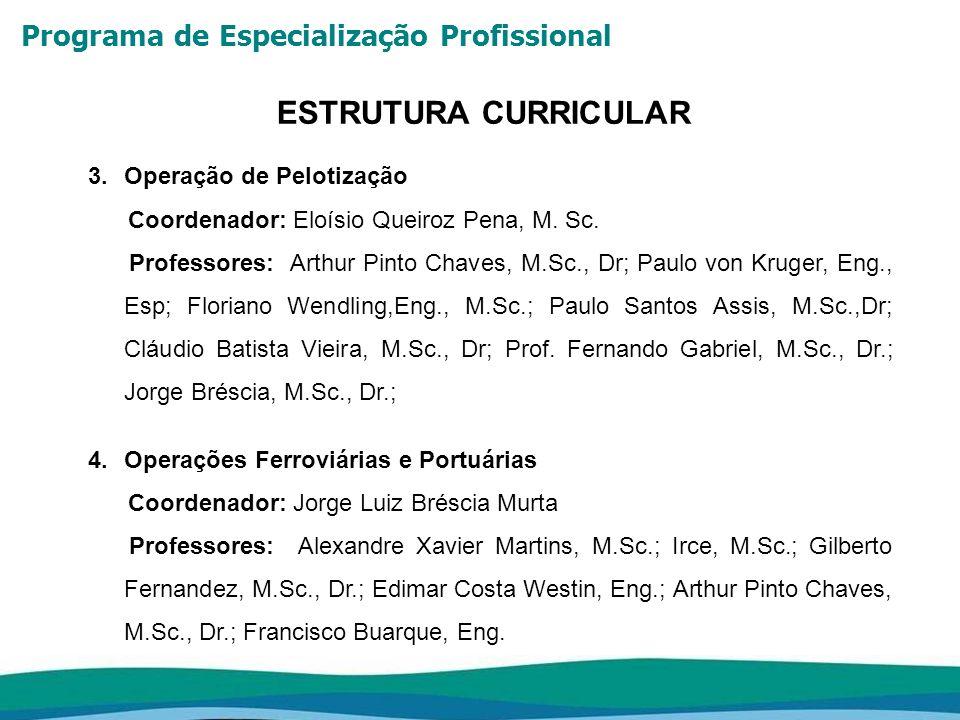 Programa de Especialização Profissional ESTRUTURA CURRICULAR 5.Manutenção Industrial Coordenador: João Esmeraldo da Silva, M.Sc., Dr.