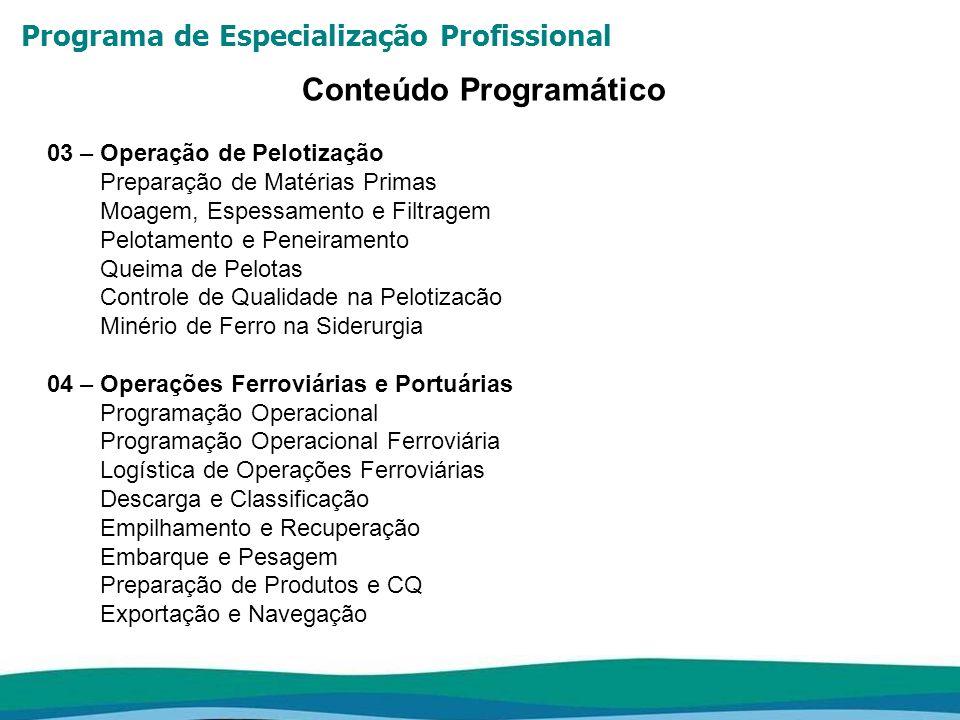 Programa de Especialização Profissional Conteúdo Programático 05 – Manutenção Industrial Excelência de Manutenção Gerenciamento de Custos de Manutenção Manutenção com Foco no Operador / TPM Técnicas de Monitoramento Otimização de Planos de Manutenção (RCM) Planejamento e Controle da Manutenção 06 – Metalurgia dos Não-Ferrosos Processos pirometalúrgicos sulfetos: teoria geral, flash smelting, conversão, refino térmico Processos pirometalúrgicos óxidos: teoria geral, redução e refino Processos hidrometalúrgicos: lixiviação, extração por solvente, resina de troca iônica, precipitação Eletrorefino e eletro-obtenção