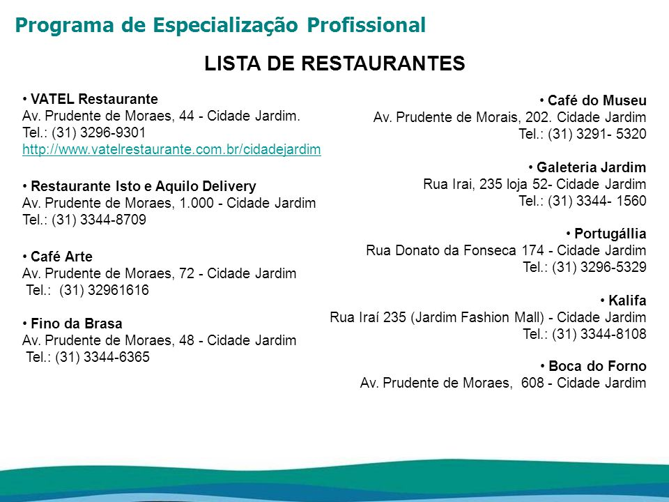 Programa de Especialização Profissional LISTA DE HOTÉIS Mercure Hotel Belo Horizonte Av.