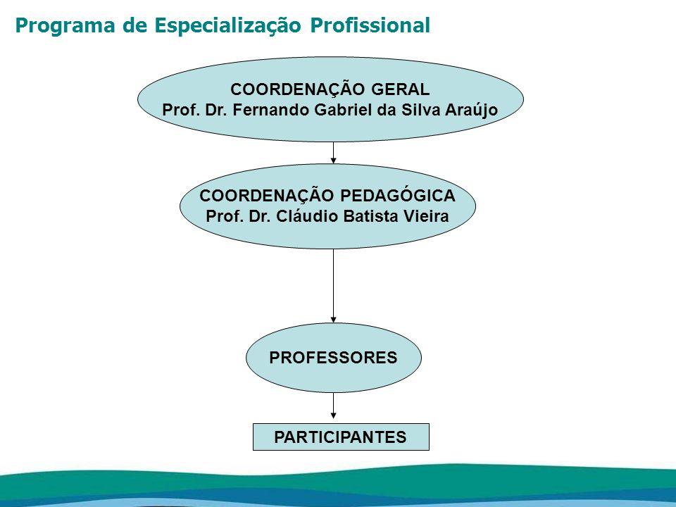 Programa de Especialização Profissional CORPO DOCENTE O corpo docente do curso será composto por profissionais portadores de títulos de Doutorado, Mestrado e Especialização, conforme determinação do Artigo 9 da Resolução CNE/CES nº.