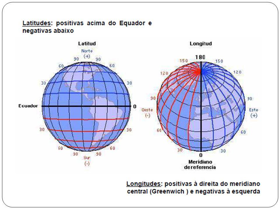 Projeções cartográficas REPRESENTAÇÃO IDEAL Manutenção da verdadeira forma das áreas a serem representadas (conformidade); Inalterabilidade das áreas (equivalência); Constância das relações entre as distâncias dos pontos representados e as distâncias dos seus correspondentes (eqüidistância).