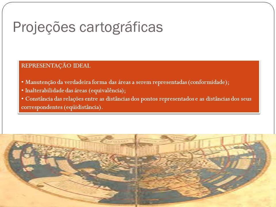 Projeções cartográficas A teoria das projeções compreende o estudo dos diferentes sistemas em uso, incluindo a exposição das leis segundo as quais se obtêm as interligações dos pontos de uma superfície (Terra) com os da outra (carta); Analisam-se os sistemas de projeções cartográficas pelo tipo de superfície de projeção adotada e pelas propriedades de deformação que as caracterizam; Superfície de projeção: - plana ou azimutal; - cônica; - cilíndrica.