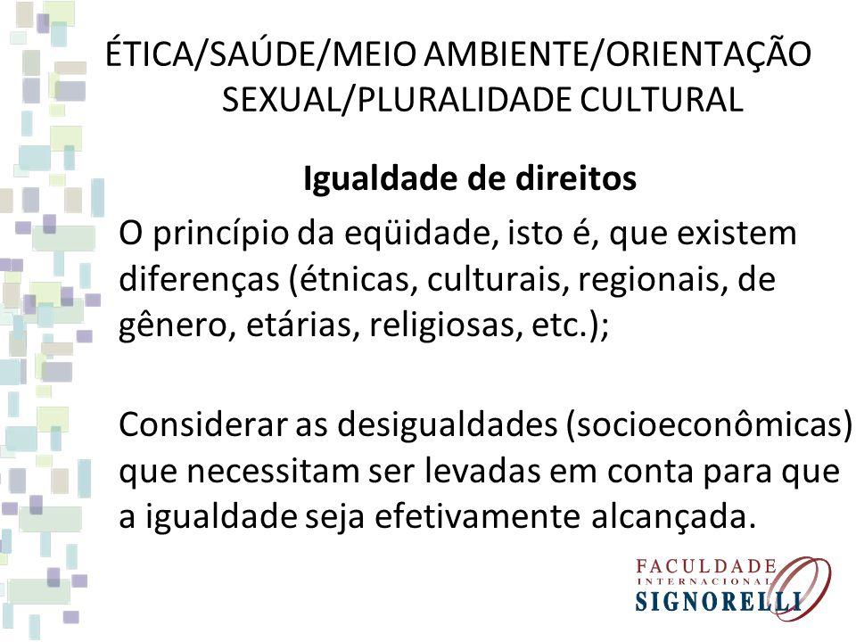ÉTICA/SAÚDE/MEIO AMBIENTE/ORIENTAÇÃO SEXUAL/PLURALIDADE CULTURAL Participação Princípio democrático, traz a noção de cidadania ativa; Permitir a participação popular no espaço público, compreendendo que não se trata de uma sociedade homogênea e sim marcada por diferenças de classe, étnicas, religiosas, etc.