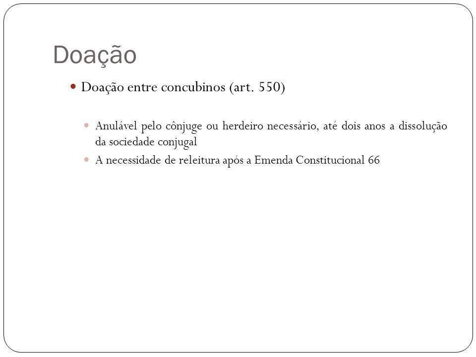 Doação Revogação da doação Direito potestativo do doador, possuindo efeitos ex nunc (art.