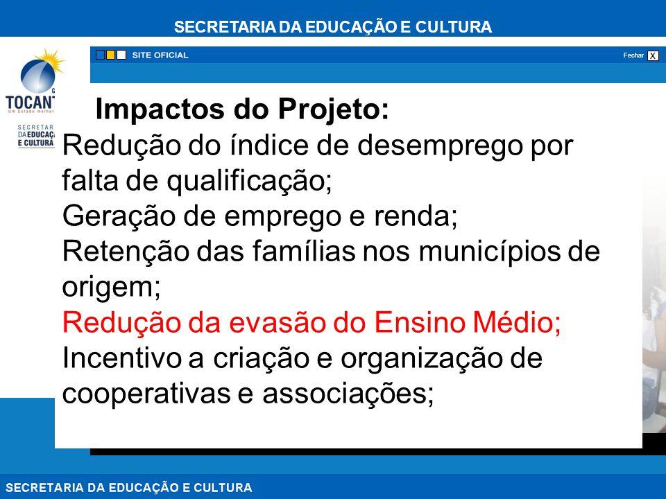 SECRETARIA DA EDUCAÇÃO E CULTURA x Fechar Infraestrutura O desenvolvimento dos cursos irá ocorrer nas escolas administradas pelo SENAI e pela SEDUC como pólos de operação e difusão das ações do projeto.