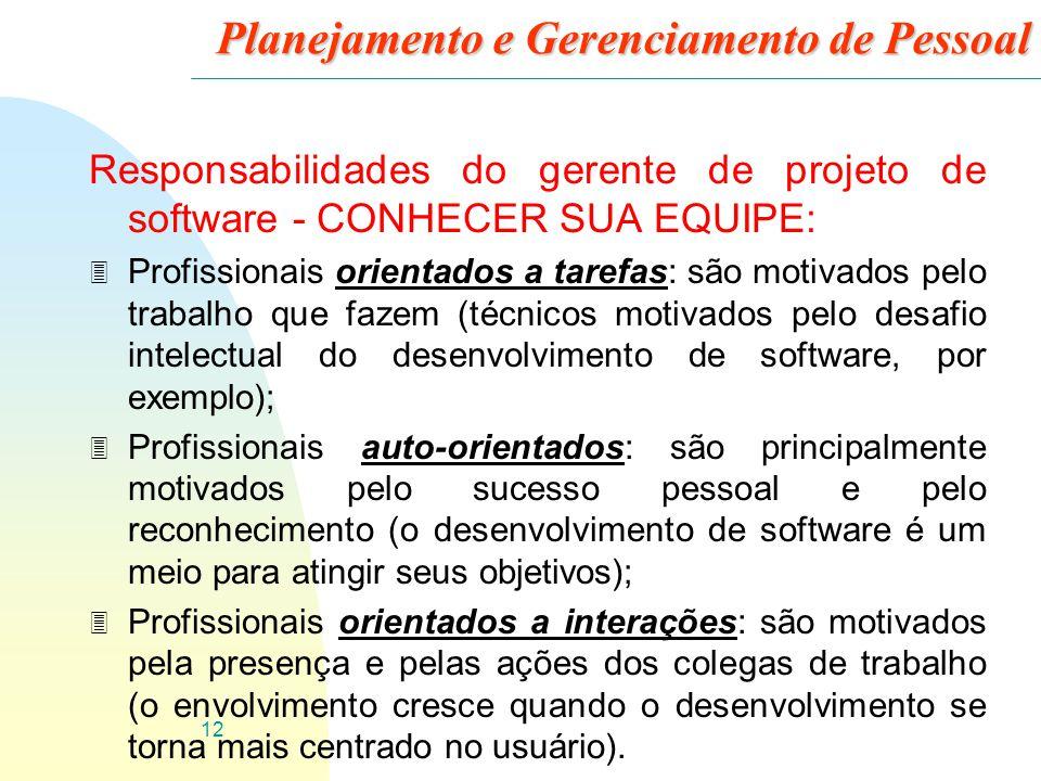 13 Planejamento e Gerenciamento de Pessoal Responsabilidades do gerente de projeto de software - CONHECER SUA EQUIPE: 3 Profissionais orientados a interações geralmente gostam de trabalhar como parte de um grupo.