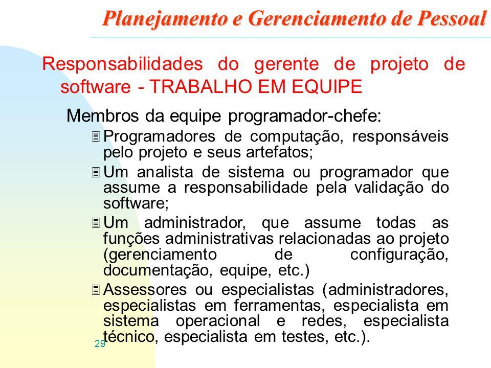30 Planejamento e Gerenciamento de Pessoal Responsabilidades do gerente de projeto de software - SELEÇÃO DE PESSOAL 3 Uma das funções de um gerente de projetos é escolher o pessoal para trabalhar no projeto.