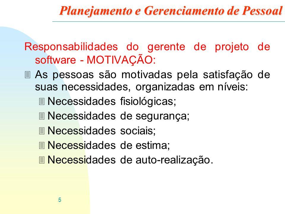 6 Planejamento e Gerenciamento de Pessoal Responsabilidades do gerente de projeto de software - MOTIVAÇÃO: Necessidades fisiológicas Necessidades de segurança Necessidades sociais Necessidades de estima Necessidades de auto-realização
