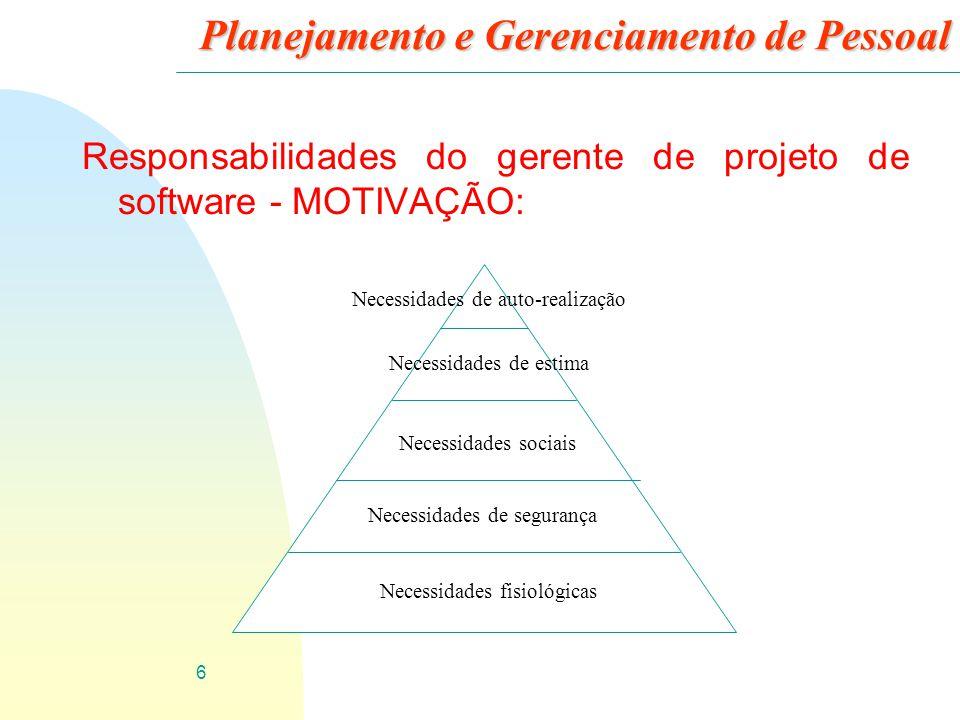 7 Planejamento e Gerenciamento de Pessoal Responsabilidades do gerente de projeto de software - MOTIVAÇÃO: 3 As prioridades humanas são satisfazer às necessidades de nível mais baixo antes das necessidades mais abstratas de nível mais alto.