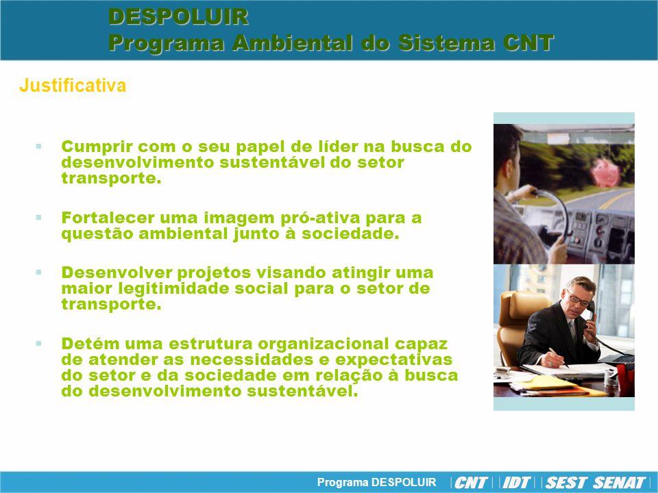 Programa DESPOLUIR Público-alvo: Empresas de transporte, caminhoneiros autônomos, taxistas, trabalhadores do setor de transporte e a sociedade em geral.