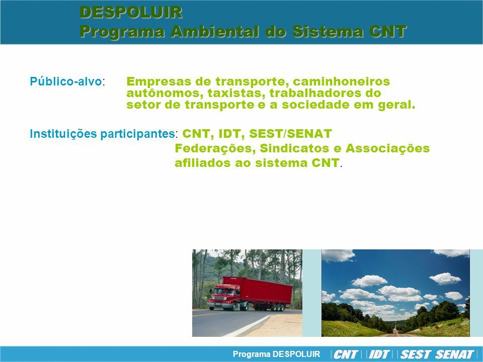 Programa DESPOLUIR Projeto I Projeto de aprimoramento da gestão ambiental Projeto II Projeto de redução de emissão de poluentes e de consumo de combustível Projeto III Projeto de educação ambiental para o setor de transporte e a sociedade Projetos Estratégicos Estruturantes DESPOLUIR Programa Ambiental do Sistema CNT DESPOLUIR Programa Ambiental do Sistema CNTDESPOLUIR