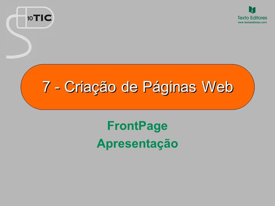 7 Criação de Páginas Web Apresentação A partir do menu INICIAR, procurar a opção correspondente ao programa de edição de páginas FrontPage.