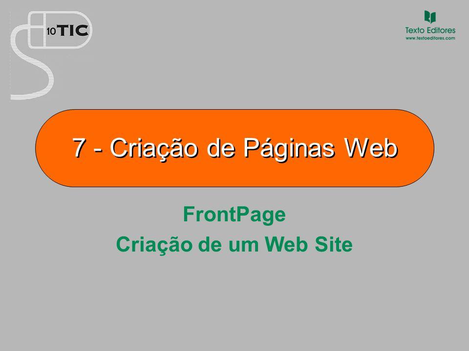 7 Criação de Páginas Web Criação de um Web Site Para criar um novo Web site, há dois caminhos possíveis: 1.Clicar no botão Novo, na barra de ferramentas padrão, e escolher Web site… De seguida, escolher um modelo, atribuir-lhe um nome e guardá-lo numa unidade.