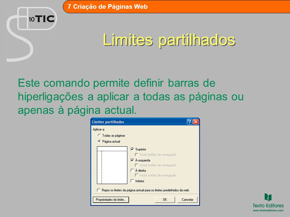 7 Criação de Páginas Web Preenchimento de fundo Esta opção só se encontra disponível para páginas que não tenham tema.