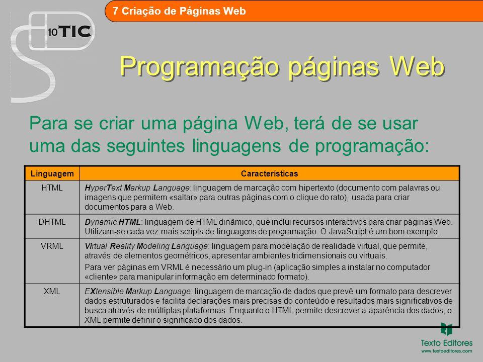 7 Criação de Páginas Web Editores de página Web Há duas formas de criar documentos para a Web: 1.Inserir o conteúdo (textos, imagens, sons, etc.) e formatá-lo através dos códigos de formatação e marcação HTML.