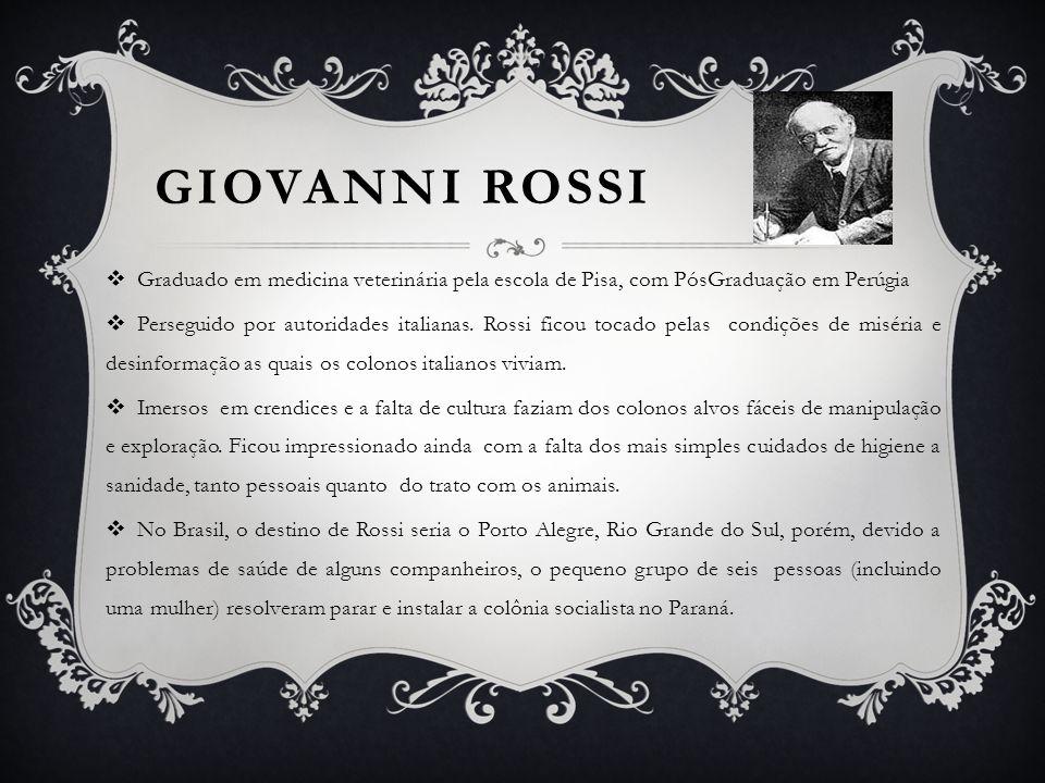 GIOVANNI ROSSI Servindo-se do semanário Lo Sperimentale, de Bréscia, Rossi incitou intelectuais, obreiros e lavradores, à viagem experimental.