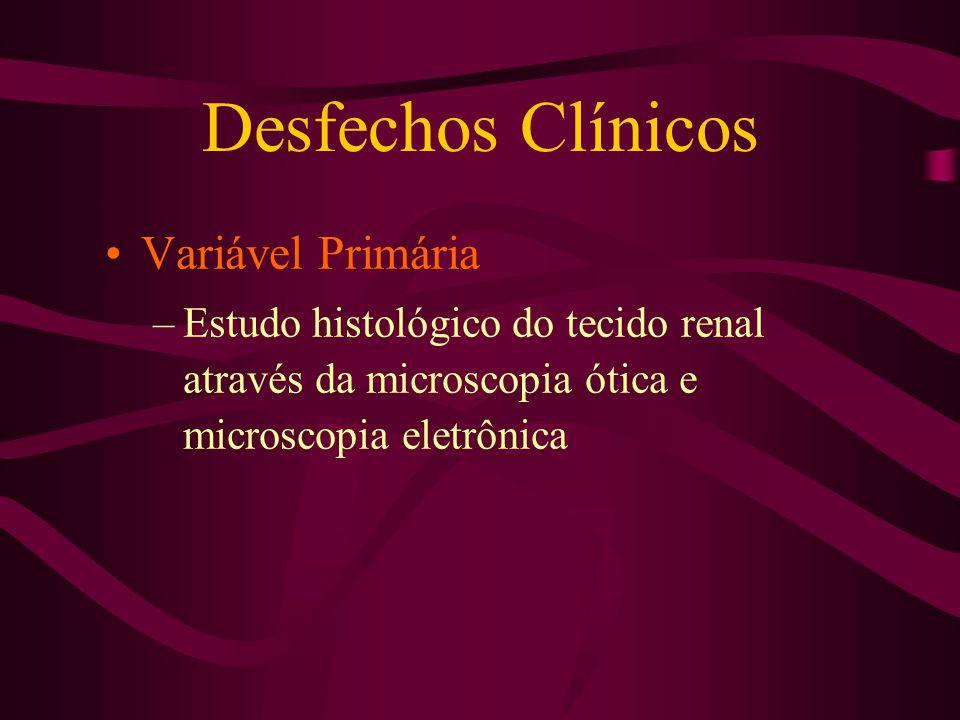 Desfechos Clínicos Variável secundária –Dosagens séricas Desidrogenase lática Creatinina Creatina fosfoquinase Potássio Lactato Hemog.