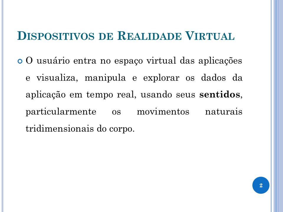 D ISPOSITIVOS DE R EALIDADE V IRTUAL 3 Casulo virtual – estimula os cinco sentidos do usuário