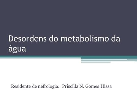 Desordens do metabolismo da água