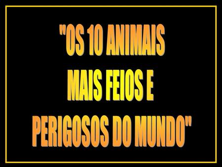 OS 10 ANIMAIS MAIS FEIOS E PERIGOSOS DO MUNDO.