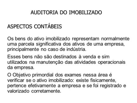 AUDITORIA DO IMOBILIZADO