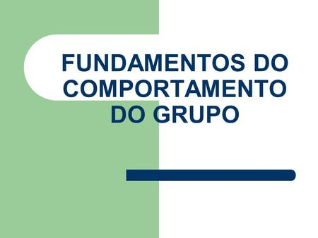 FUNDAMENTOS DO COMPORTAMENTO DO GRUPO