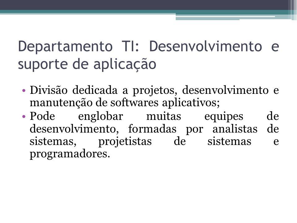 Departamento TI: Operações Responsável pela organização e operação rotineira do hardware de computador e dos sistemas operacionais; Eles prestam serviços para as equipes de desenvolvimento de aplicativos e para os usuários de sistemas em operação.