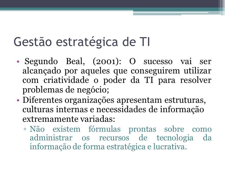 Referências BEAL, Adriana (2000).Manual de Gestão de Tecnologia da Informação.