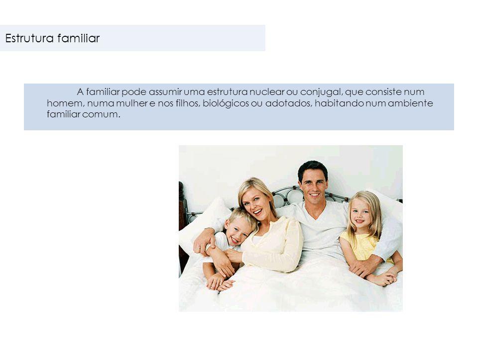  Família nuclear  Família extensa ou numerosa  Família monoparental  Famílias biparentais Estrutura familiar Tipos de família
