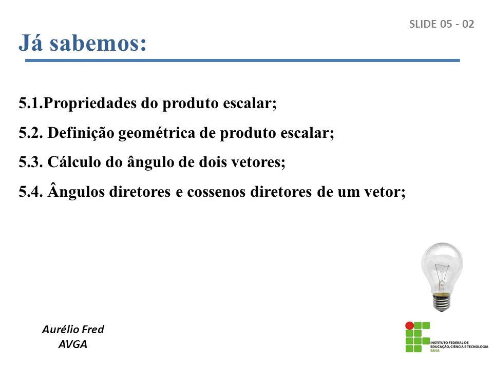 Aurélio Fred AVGA Projeção de um vetor sobre o outro: SLIDE 05 - 03 1 2 3